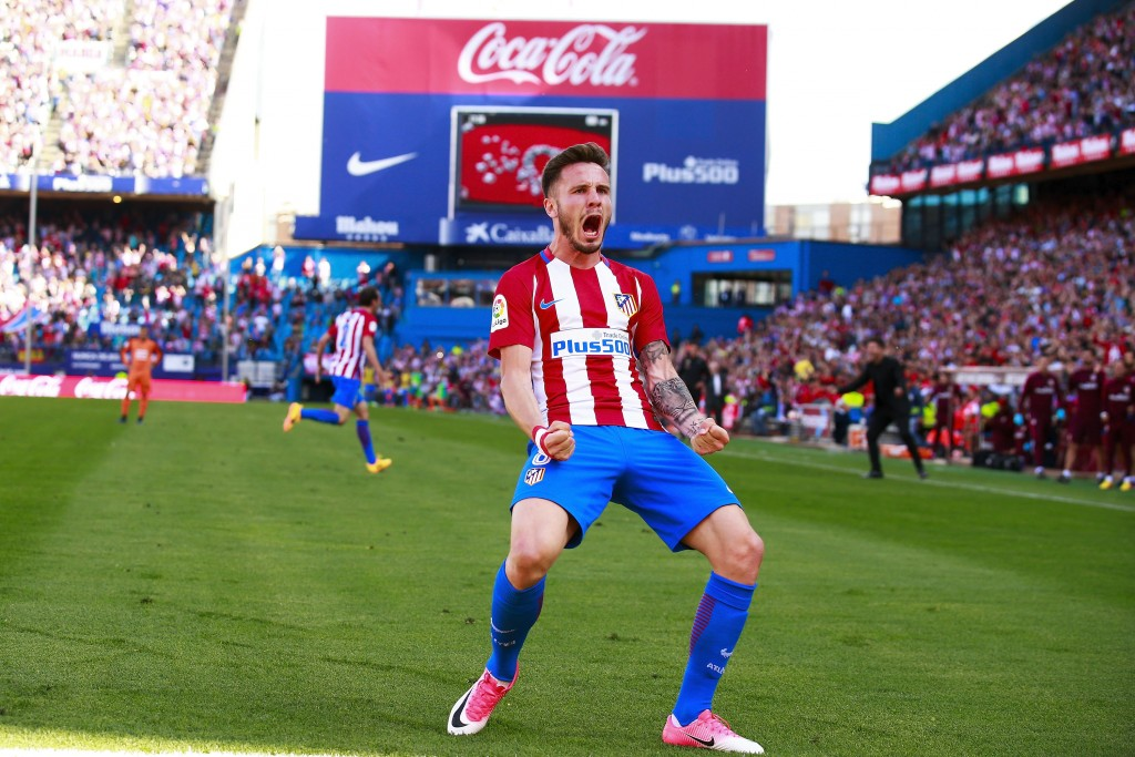 MADRID, SPAIN - MAY 06: Saul Niguez of Atletico de Madrid celebrates scoring their opening goal during the La Liga match between Club Atletico de Madrid and SD Eibar at Estadio Vicente Calderon on May 6, 2017 in Madrid, Spain. (Photo by Gonzalo Arroyo Moreno/Getty Images)