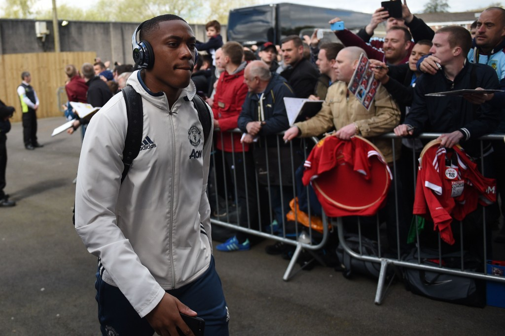 Manchester United's French striker Anthony Martial arrives for the English Premier League football match between Burnley and Manchester United at Turf Moor in Burnley, north west England on April 23, 2017. / AFP PHOTO / Oli SCARFF / RESTRICTED TO EDITORIAL USE. No use with unauthorized audio, video, data, fixture lists, club/league logos or 'live' services. Online in-match use limited to 75 images, no video emulation. No use in betting, games or single club/league/player publications. / (Photo credit should read OLI SCARFF/AFP/Getty Images)