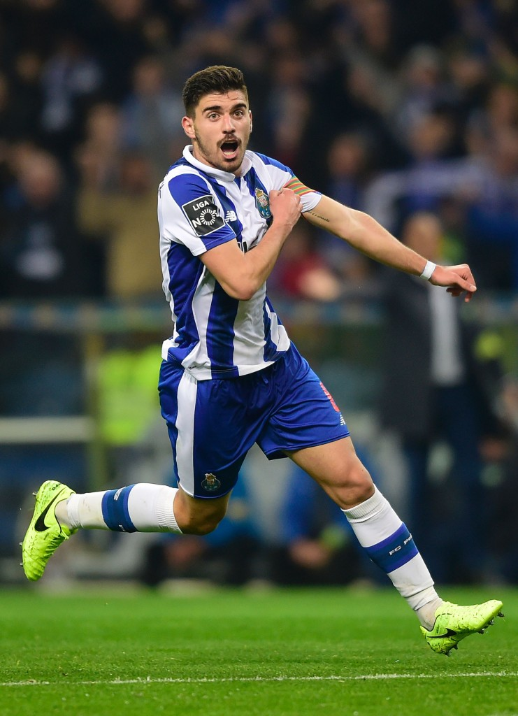 Porto's midfielder Ruben Neves celebrates after scoring during the Portuguese league football match FC Porto vs CD Tondela at the Dragao stadium in Porto on February 17, 2017. / AFP / MIGUEL RIOPA (Photo credit should read MIGUEL RIOPA/AFP/Getty Images)