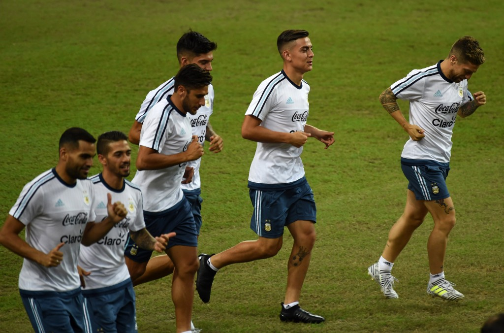 The Argentinians train ahead of the friendly match against Singapore on Tuesday. (Photo courtesy - Roslan Rahman/AFP/Getty Images)