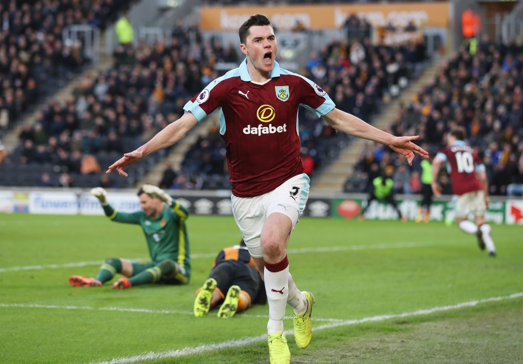 HULL, ENGLAND - FEBRUARY 25: Michael Keane of Burnley celebrates scoring his sides first goal during the Premier League match between Hull City and Burnley at KCOM Stadium on February 25, 2017 in Hull, England. (Photo by Mark Robinson/Getty Images)