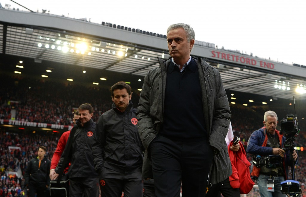 MANCHESTER, ENGLAND - MAY 11: Jose Mourinho, Manager of Manchester United looks on prior to the UEFA Europa League, semi final second leg match, between Manchester United and Celta Vigo at Old Trafford on May 11, 2017 in Manchester, United Kingdom. (Photo by Gareth Copley/Getty Images)