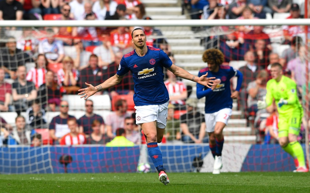SUNDERLAND, ENGLAND - APRIL 09: Zlatan Ibrahimovic of Manchester United celebrates scoring the opening goal during the Premier League match between Sunderland and Manchester United at Stadium of Light on April 9, 2017 in Sunderland, England. (Photo by Stu Forster/Getty Images)