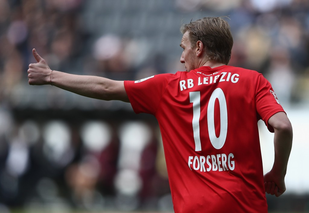 FRANKFURT AM MAIN, GERMANY - MAY 20: Emil Forsberg of Leipzig reacts during the Bundesliga match between Eintracht Frankfurt and RB Leipzig at Commerzbank-Arena on May 20, 2017 in Frankfurt am Main, Germany. (Photo by Alex Grimm/Bongarts/Getty Images)