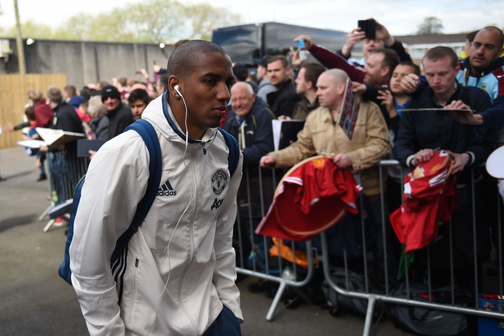 Manchester United's English midfielder Ashley Young arrives for the English Premier League football match between Burnley and Manchester United at Turf Moor in Burnley, north west England on April 23, 2017. / AFP PHOTO / Oli SCARFF / RESTRICTED TO EDITORIAL USE. No use with unauthorized audio, video, data, fixture lists, club/league logos or 'live' services. Online in-match use limited to 75 images, no video emulation. No use in betting, games or single club/league/player publications. / (Photo credit should read OLI SCARFF/AFP/Getty Images)