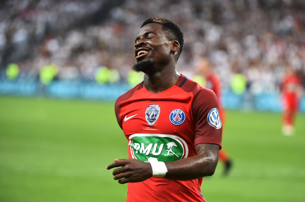Paris Saint-Germain's Ivorian defender Serge Aurier reacts during the French Cup final football match between Paris Saint-Germain (PSG) and Angers (SCO) on May 27, 2017, at the Stade de France in Saint-Denis, north of Paris. / AFP PHOTO / JEAN-FRANCOIS MONIER (Photo credit should read JEAN-FRANCOIS MONIER/AFP/Getty Images)