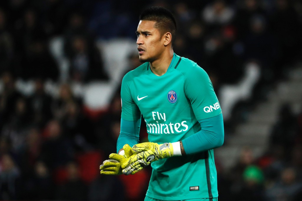 Paris Saint-Germain's French goalkeeper Alphonse Areola looks on during the French L1 football match between Paris Saint-Germain (PSG) and Lille (LOSC) on February 7, 2017 at the Parc des Princes stadium in Paris. / AFP / THOMAS SAMSON (Photo credit should read THOMAS SAMSON/AFP/Getty Images)