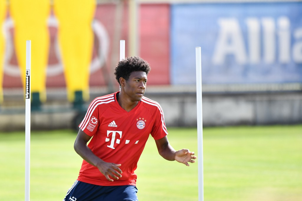 MUNICH, GERMANY - JULY 10: David Alaba of FC Bayern Muenchen in action during a training session at Saebener Strasse training ground on July 10, 2017 in Munich, Germany. (Photo by Sebastian Widmann/Bongarts/Getty Images)