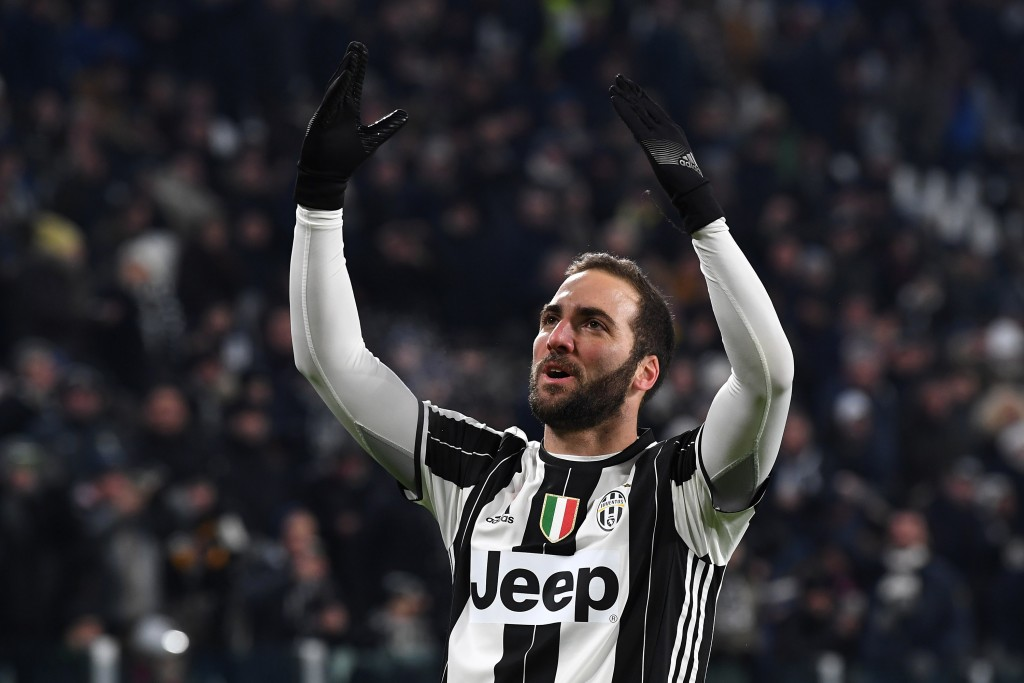 TURIN, ITALY - JANUARY 08: Gonzalo Higuain of Juventus FC celebrates after scoring the opening goal during the Serie A match between Juventus FC and Bologna FC at Juventus Stadium on January 8, 2017 in Turin, Italy. (Photo by Valerio Pennicino/Getty Images)