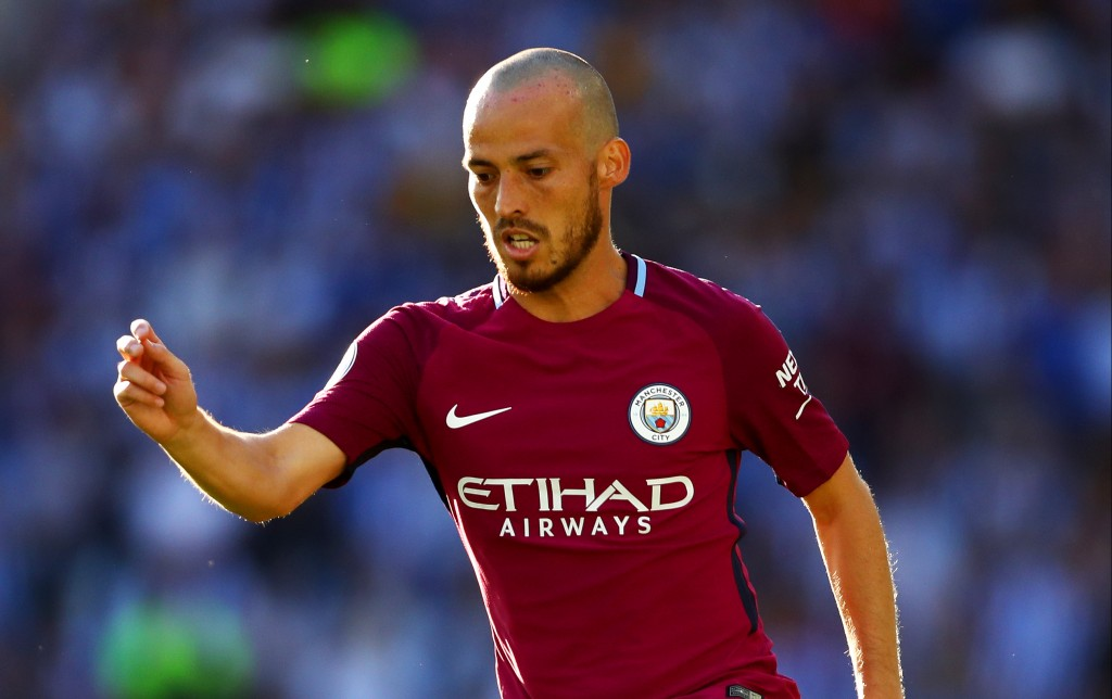 BRIGHTON, ENGLAND - AUGUST 12: David Silva of Manchester City in action during the Premier League match between Brighton and Hove Albion and Manchester City at Amex Stadium on August 12, 2017 in Brighton, England. (Photo by Dan Istitene/Getty Images)