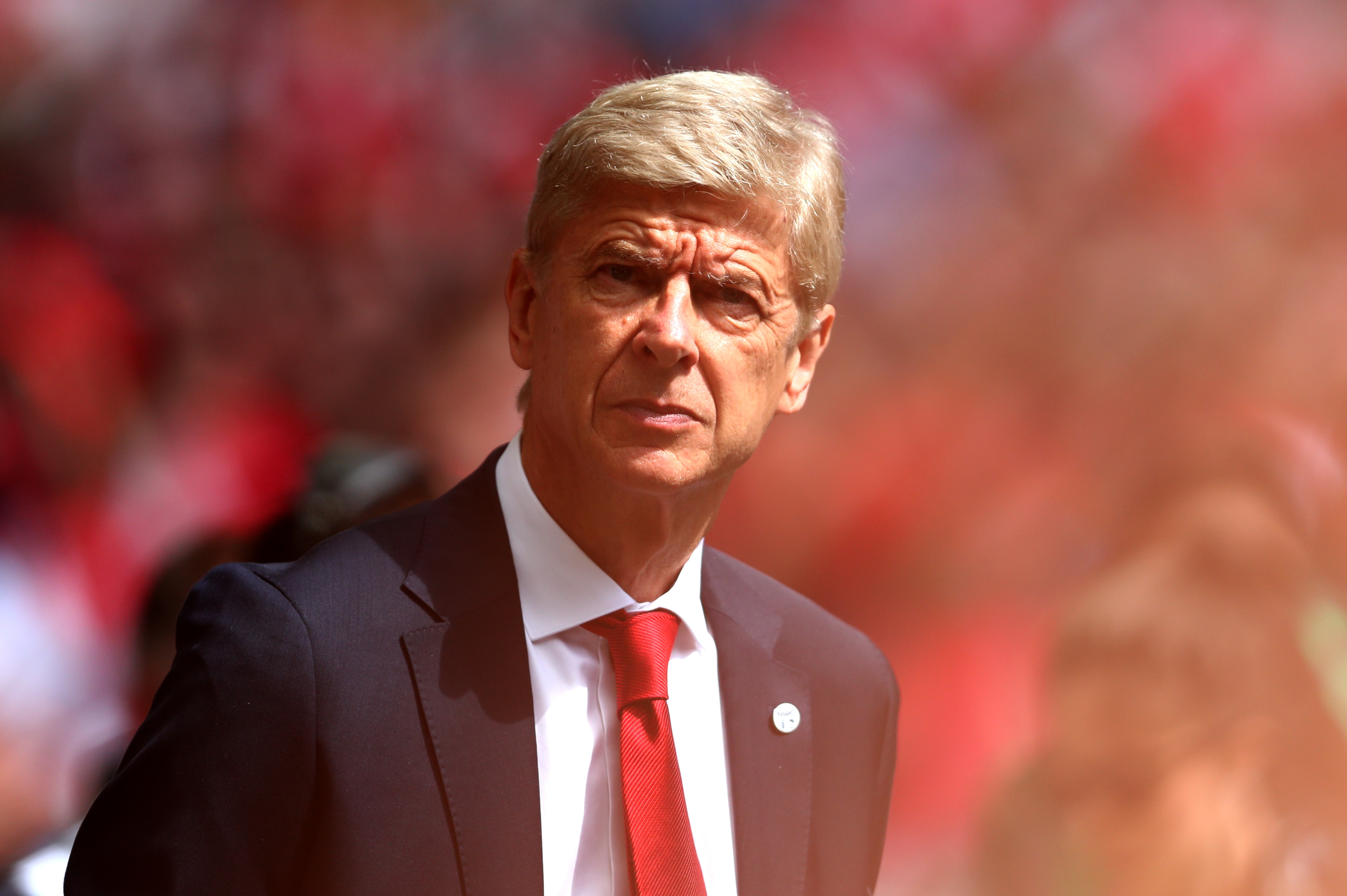 LONDON, ENGLAND - AUGUST 06: Arsene Wenger, Manager of Arsenal looks on prior to the The FA Community Shield final between Chelsea and Arsenal at Wembley Stadium on August 6, 2017 in London, England. (Photo by Dan Istitene/Getty Images)