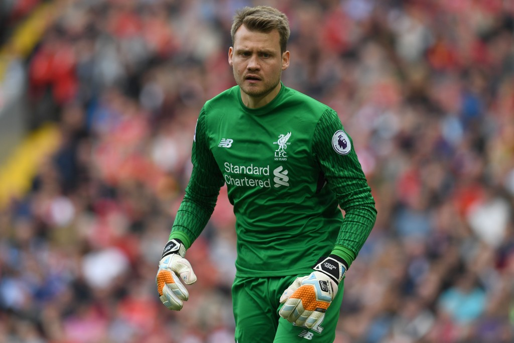 Liverpool's Belgian goalkeeper Simon Mignolet reacts during the English Premier League football match between Liverpool and Middlesbrough at Anfield in Liverpool, north west England on May 21, 2017. / AFP PHOTO / Paul ELLIS / RESTRICTED TO EDITORIAL USE. No use with unauthorized audio, video, data, fixture lists, club/league logos or 'live' services. Online in-match use limited to 75 images, no video emulation. No use in betting, games or single club/league/player publications. / (Photo credit should read PAUL ELLIS/AFP/Getty Images)