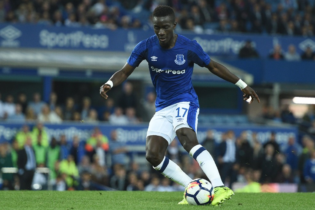 Everton's Senegalese midfielder Idrissa Gueye shoots to score their second goal during the UEFA Europa League playoff round, first leg football match between Everton and Hajduk Split at Goodison Park in Liverpool, north west England on August 17, 2017. / AFP PHOTO / Oli SCARFF (Photo credit should read OLI SCARFF/AFP/Getty Images)