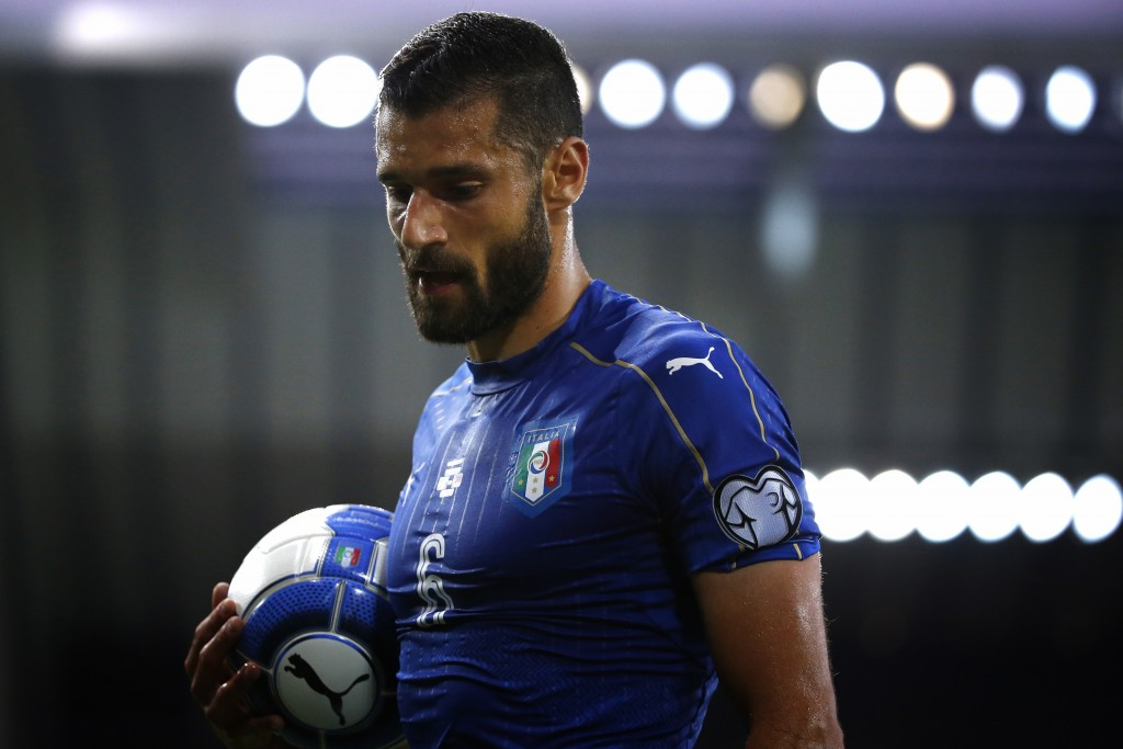 Italy's forward Antonio Candreva holds the ball during the FIFA WC 2018 football qualification match between Italy and Liechtenstein at the Dacia Arena Stadium in Udine on June 11, 2017 / AFP PHOTO / Marco BERTORELLO (Photo credit should read MARCO BERTORELLO/AFP/Getty Images)