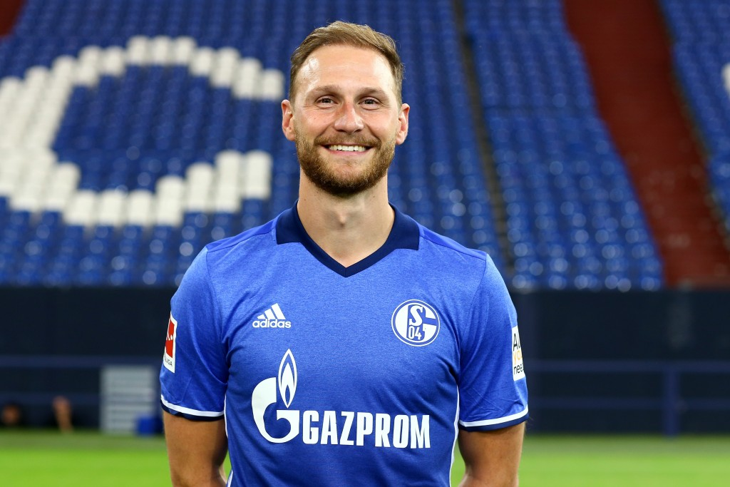 GELSENKIRCHEN, GERMANY - JULY 12: Benedikt Hoewedes of FC Schalke 04 poses during the team presentation at Veltins Arena on July 12, 2017 in Gelsenkirchen, Germany. (Photo by Christof Koepsel/Bongarts/Getty Images)