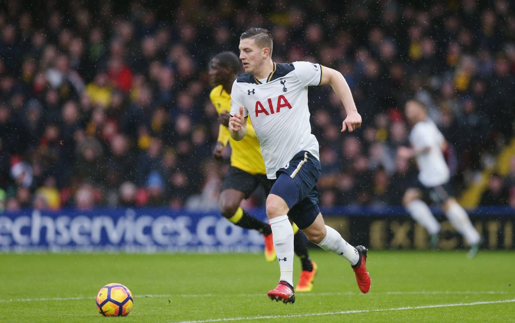 WATFORD, ENGLAND - JANUARY 01: Kevin Wimmer of Tottenham during the Premier League match between Watford and Tottenham Hotspur at Vicarage Road on January 1, 2017 in Watford, England. (Photo by Alex Morton/Getty Images)