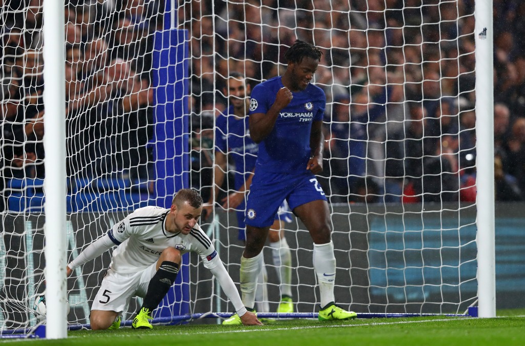 LONDON, ENGLAND - SEPTEMBER 12: Michy Batshuayi of Chelsea celebrates scoring his sides sixth goal during the UEFA Champions League Group C match between Chelsea FC and Qarabag FK at Stamford Bridge on September 12, 2017 in London, United Kingdom. (Photo by Clive Rose/Getty Images)