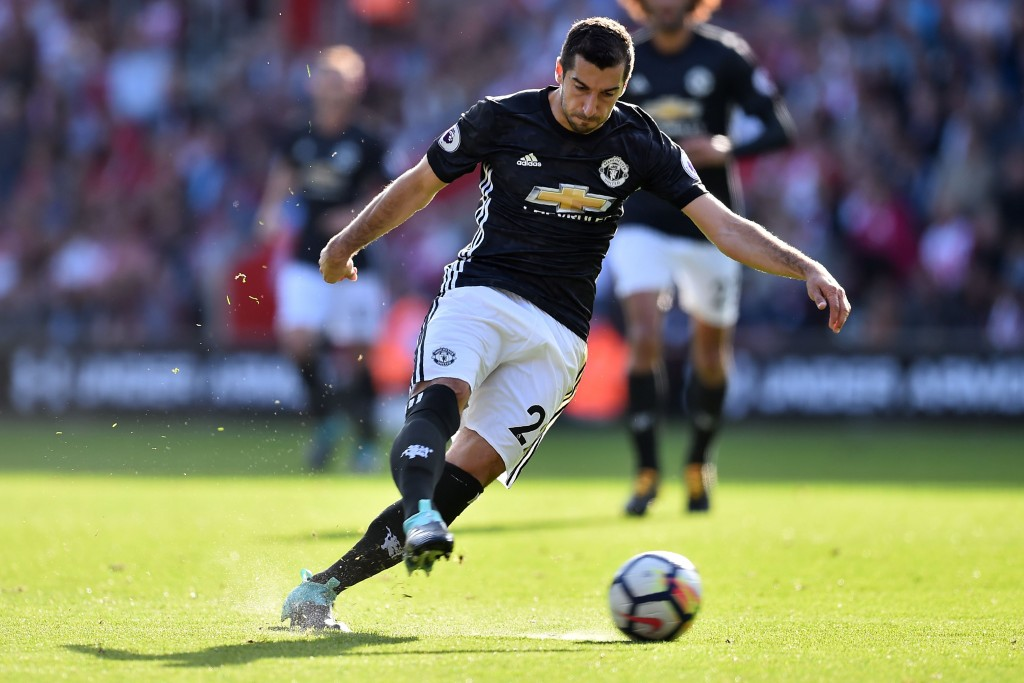 Manchester United's Armenian midfielder Henrikh Mkhitaryan has an unsuccessful shot during the English Premier League football match between Southampton and Manchester United at St Mary's Stadium in Southampton, southern England on September 23, 2017. / AFP PHOTO / Glyn KIRK / RESTRICTED TO EDITORIAL USE. No use with unauthorized audio, video, data, fixture lists, club/league logos or 'live' services. Online in-match use limited to 75 images, no video emulation. No use in betting, games or single club/league/player publications. / (Photo credit should read GLYN KIRK/AFP/Getty Images)