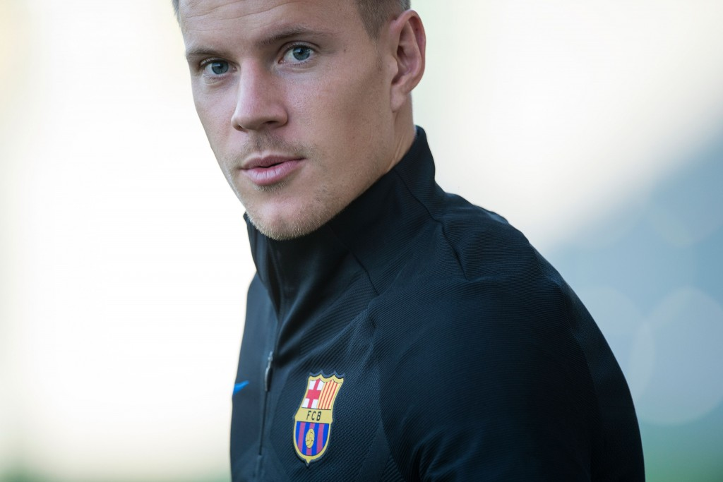 Barcelona's German goalkeeper Marc-Andre ter Stegen looks on during a training session at the Sports Center FC Barcelona Joan Gamper in Sant Joan Despi, near Barcelona on August 12, 2017 on the eve of the team's Spanish Supercup first leg football match FC Barcelona vs Real Madrid. / AFP PHOTO / Josep LAGO (Photo credit should read JOSEP LAGO/AFP/Getty Images)
