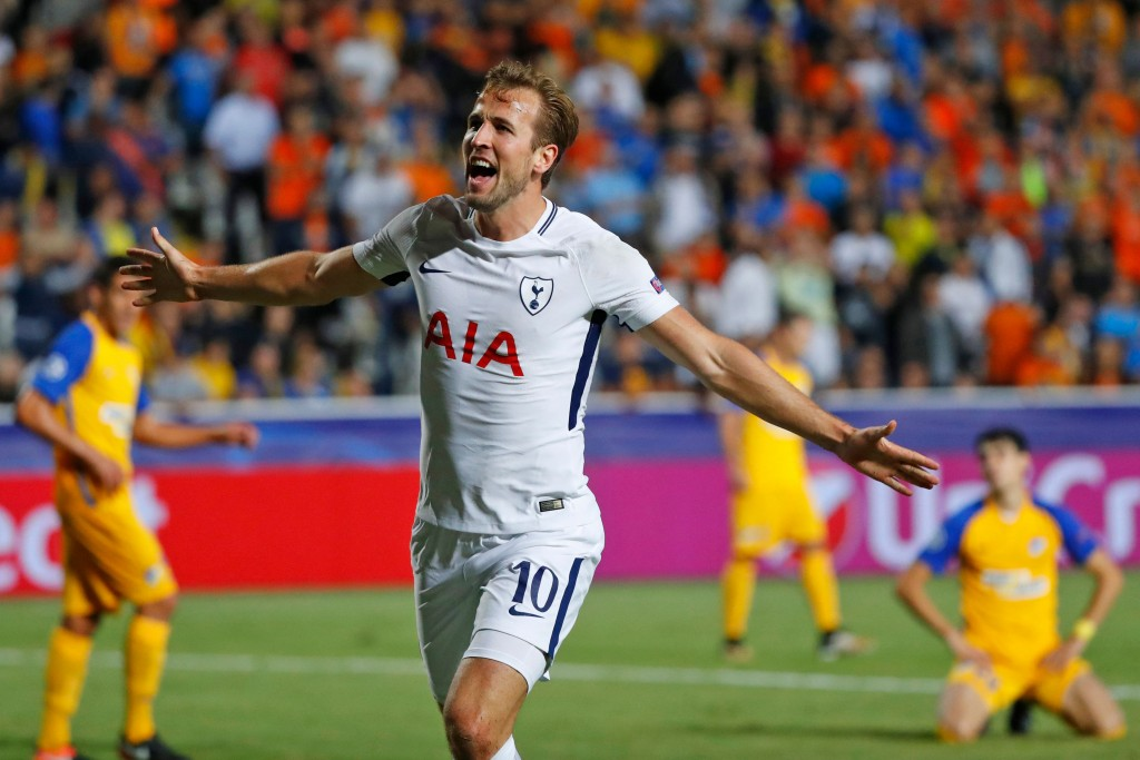 Tottenham Hotspur's English striker Harry Kane celebrates after scoring during the UEFA Champions League football match between Apoel FC and Tottenham Hotspur at the GSP Stadium in the Cypriot capital, Nicosia on September 26, 2017. / AFP PHOTO / JACK GUEZ (Photo credit should read JACK GUEZ/AFP/Getty Images)