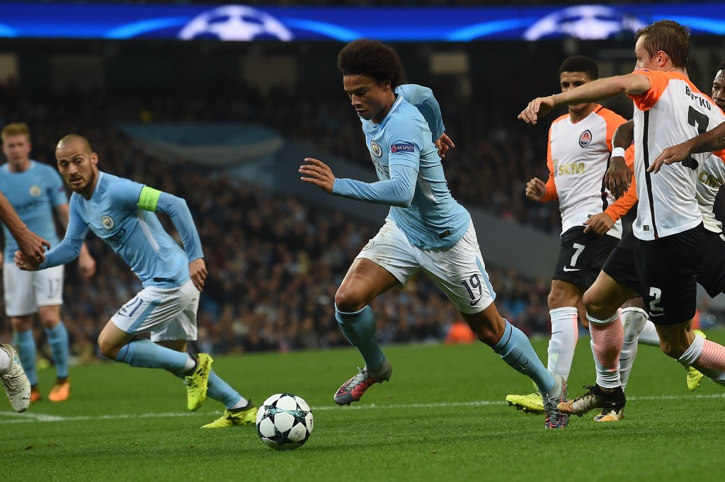 Manchester City's German midfielder Leroy Sane (C) runs at goal but fails to score during the Group F football match between Manchester City and Shakhtar Donetsk at the Etihad Stadium in Manchester, north west England, on September 26, 2017. / AFP PHOTO / PAUL ELLIS (Photo credit should read PAUL ELLIS/AFP/Getty Images)