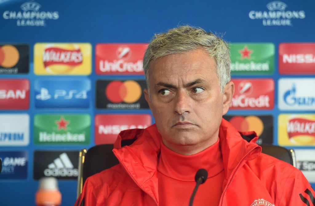 Manchester United's Portuguese manager Jose Mourinho attends a press conference at at Old Trafford in Manchester, north-west England on September 11, 2017, on the eve of their UEFA Champions League Group A football match against FC Basel. / AFP PHOTO / PAUL ELLIS (Photo credit should read PAUL ELLIS/AFP/Getty Images)