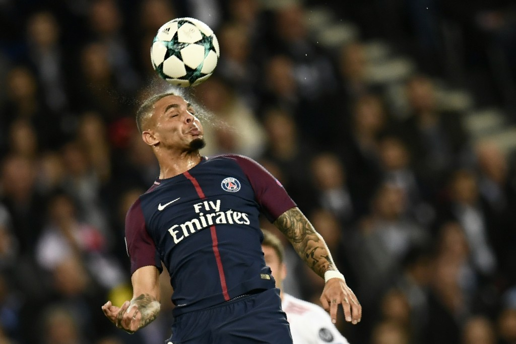 Paris Saint-Germain's French defender Layvin Kurzawa heads the ball during the UEFA Champions League football match between Paris Saint-Germain and Bayern Munich on September 27, 2017 at the Parc des Princes stadium in Paris. / AFP PHOTO / CHRISTOPHE SIMON (Photo credit should read CHRISTOPHE SIMON/AFP/Getty Images)