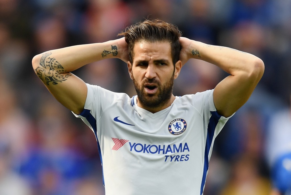 LEICESTER, ENGLAND - SEPTEMBER 09: Cesc Fabregas of Chelsea reacts during the Premier League match between Leicester City and Chelsea at The King Power Stadium on September 9, 2017 in Leicester, England. (Photo by Michael Regan/Getty Images)