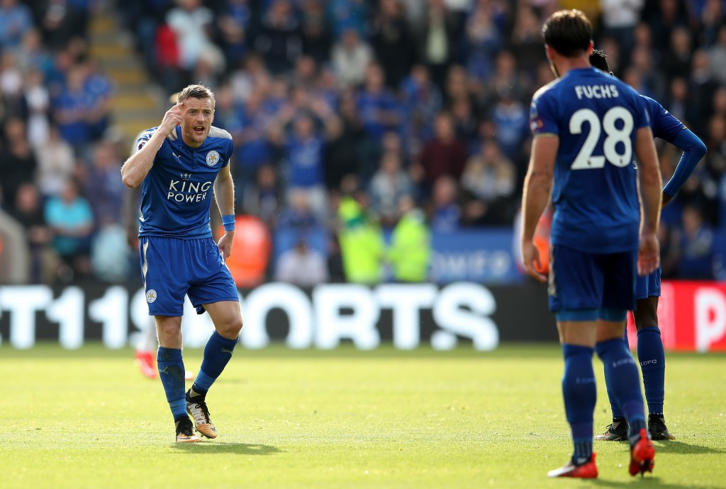 LEICESTER, ENGLAND - SEPTEMBER 09: Jamie Vardy of Leicester City reacts during the Premier League match between Leicester City and Chelsea at The King Power Stadium on September 9, 2017 in Leicester, England. (Photo by Clive Mason/Getty Images)
