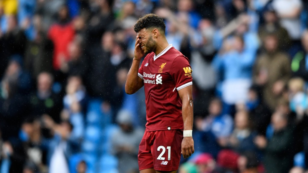 MANCHESTER, ENGLAND - SEPTEMBER 09: Alex Oxlade-Chamberlain of Liverpool reacts after the Premier League match between Manchester City and Liverpool at Etihad Stadium on September 9, 2017 in Manchester, England. (Photo by Stu Forster/Getty Images)