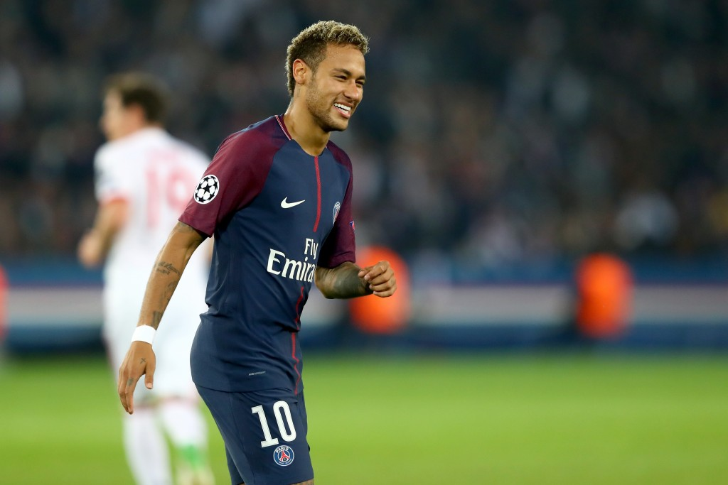 PARIS, FRANCE - SEPTEMBER 27: Neymar of Paris smiles during the UEFA Champions League group B match between Paris Saint-Germain and Bayern Muenchen at Parc des Princes on September 27, 2017 in Paris, France. (Photo by Alexander Hassenstein/Bongarts/Getty Images)