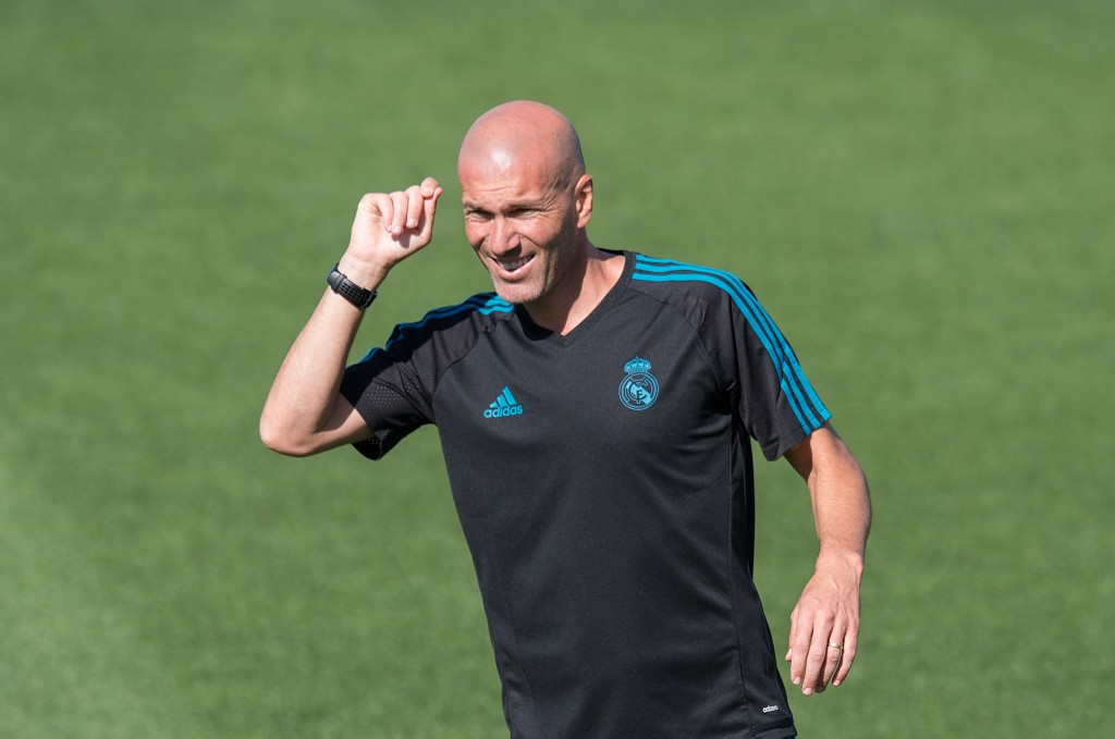 MADRID, SPAIN - SEPTEMBER 12: Real Madrid CF manager Zinedine Zidane looks on during the Real Madrid CF training session at Valdebebas training ground on September 12, 2017 in Madrid, Spain. (Photo by Denis Doyle/Getty Images)
