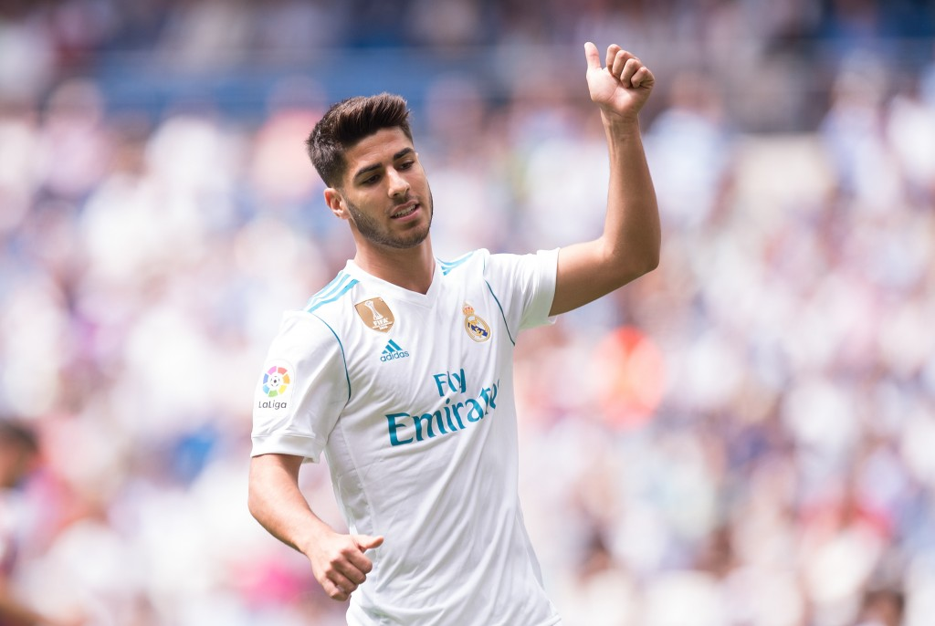 MADRID, SPAIN - SEPTEMBER 09: Marco Asensio of Real Madrid CF reacts during the La Liga match between Real Madrid and Levante at Estadio Santiago Bernabeu on September 9, 2017 in Madrid, Spain . (Photo by Denis Doyle/Getty Images)