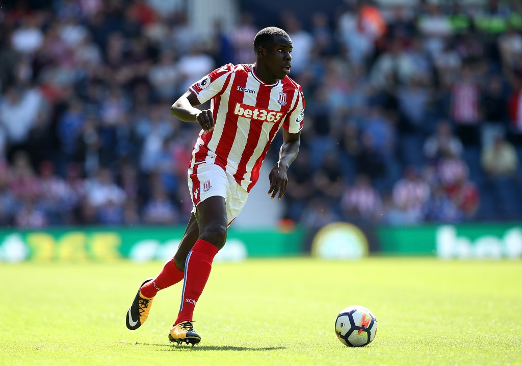 WEST BROMWICH, ENGLAND - AUGUST 27: Kurt Zouma of Stoke City during the Premier League match between West Bromwich Albion and Stoke City at The Hawthorns on August 27, 2017 in West Bromwich, England. (Photo by Jan Kruger/Getty Images)