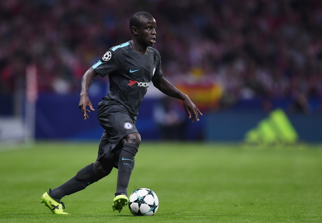 MADRID, SPAIN - SEPTEMBER 27: N'Golo Kante of Chelsea in action during the UEFA Champions League group C match between Atletico Madrid and Chelsea FC at Estadio Wanda Metropolitano on September 27, 2017 in Madrid, Spain. (Photo by David Ramos/Getty Images)