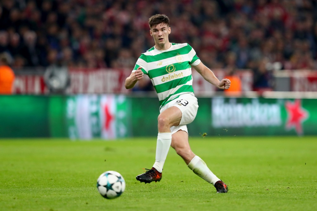 MUNICH, GERMANY - OCTOBER 18: Kieran Tierney of Celtic runs with the ball during the UEFA Champions League group B match between Bayern Muenchen and Celtic FC at Allianz Arena on October 18, 2017 in Munich, Germany. (Photo by Alexander Hassenstein/Bongarts/Getty Images)