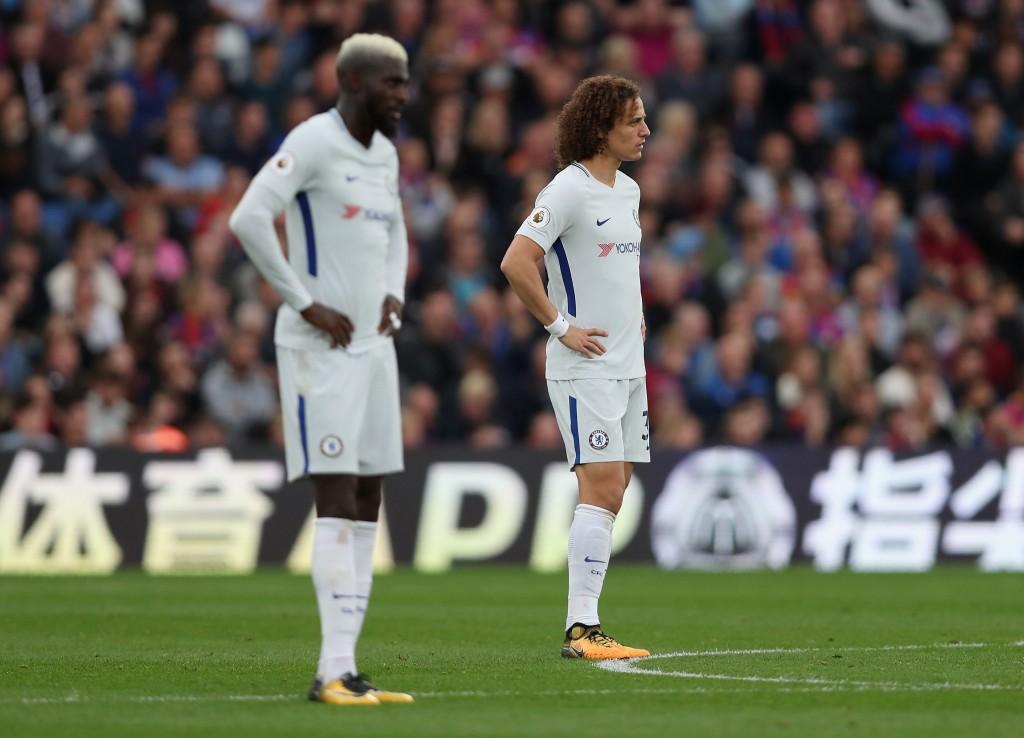 LONDON, ENGLAND - OCTOBER 14: Tiemoue Bakayoko and David Luiz of Chelsea look dejected during the Premier League match between Crystal Palace and Chelsea at Selhurst Park on October 14, 2017 in London, England. (Photo by Dan Istitene/Getty Images)