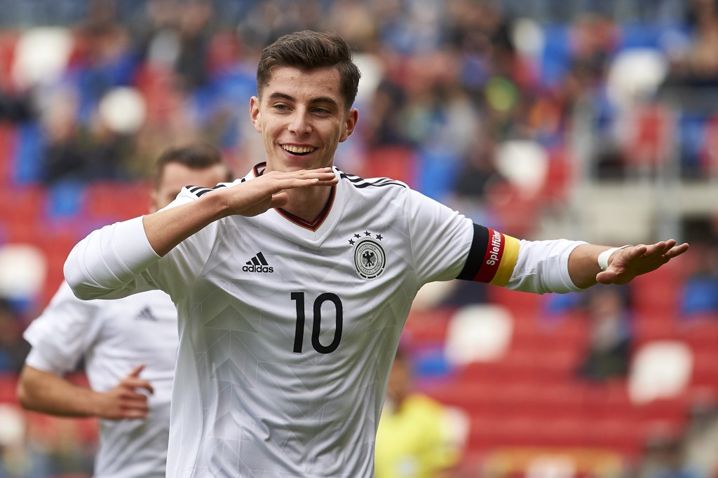 ZABRZE, POLAND - OCTOBER 04: Kai Havertz of U19 Germany celebrates after scoring during the UEFA Under19 Euro Qualifier between U19 Germany and U19 Belarus on October 4, 2017 in Zabrze, Poland. (Photo by Adam Nurkiewicz/Bongarts/Getty Images)