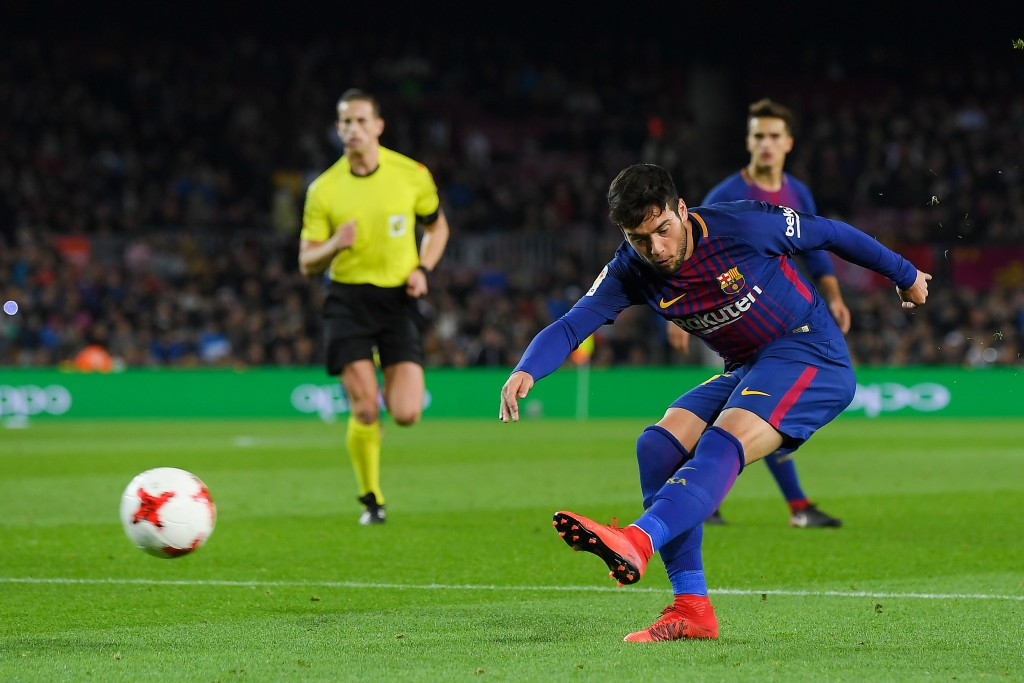 BARCELONA, SPAIN - NOVEMBER 29: Jose Arnaiz of FC Barcelona scores his team's fifth goal during the Copa del Rey round of 32 second leg match between FC Barcelona and Real Murcia at Camp Nou on November 29, 2017 in Barcelona, Spain. (Photo by David Ramos/Getty Images)