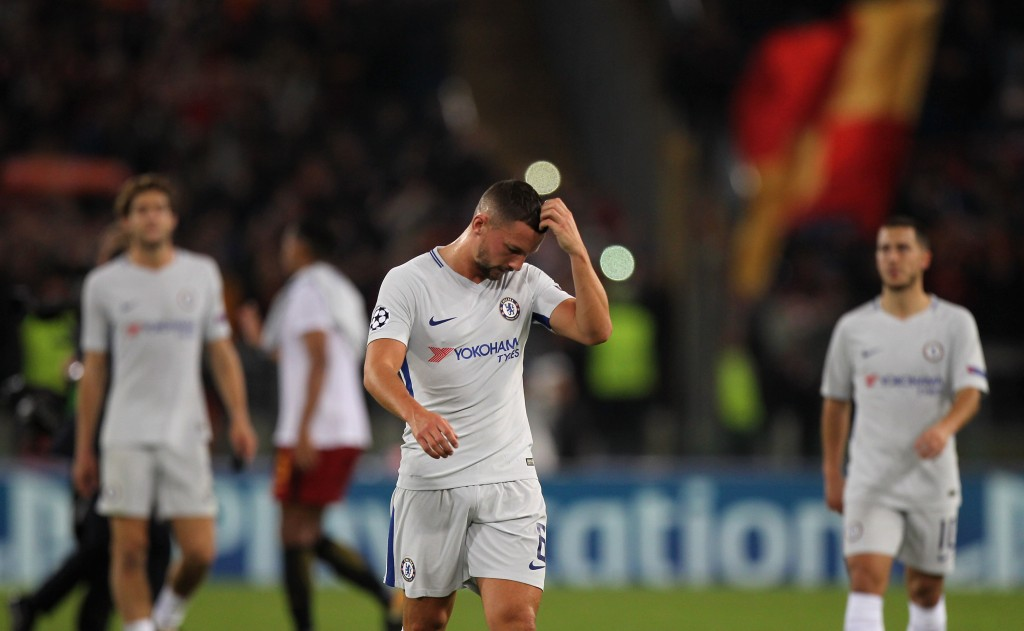 ROME, ITALY - OCTOBER 31: Danny Drinkwater of Chelsea FC reacts after the UEFA Champions League group C match between AS Roma and Chelsea FC at Stadio Olimpico on October 31, 2017 in Rome, Italy. (Photo by Paolo Bruno/Getty Images )