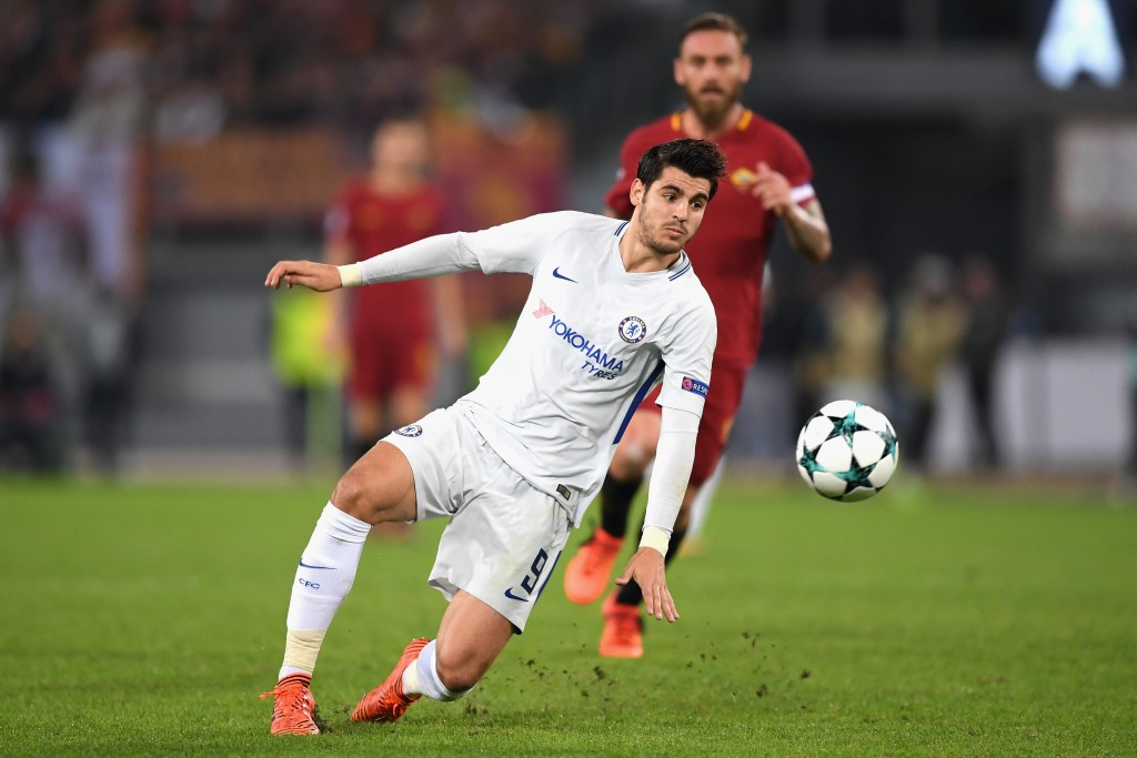 ROME, ITALY - OCTOBER 31: Alvaro Morata of Chelsea in action during the UEFA Champions League group C match between AS Roma and Chelsea FC at Stadio Olimpico on October 31, 2017 in Rome, Italy. (Photo by Shaun Botterill/Getty Images)