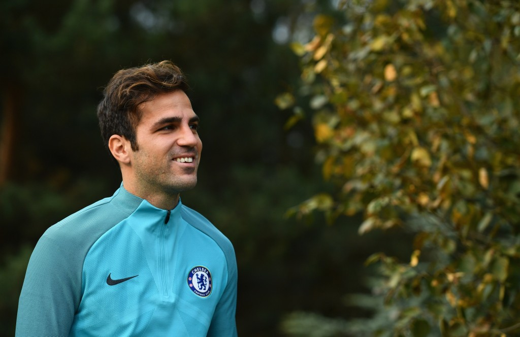 COBHAM, ENGLAND - OCTOBER 17: Cesc Fabregas looks on during a Chelsea training session on the eve of their UEFA Champions League match against AS Roma at Chelsea Training Ground on October 17, 2017 in Cobham, England. (Photo by Dan Mullan/Getty Images)