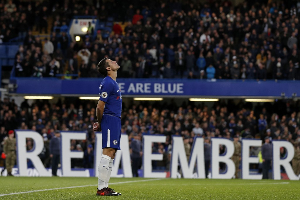 Chelsea's Spanish defender Cesar Azpilicueta reacts ahead of the English Premier League football match between Chelsea and Manchester United at Stamford Bridge in London on November 5, 2017. / AFP PHOTO / Adrian DENNIS / RESTRICTED TO EDITORIAL USE. No use with unauthorized audio, video, data, fixture lists, club/league logos or 'live' services. Online in-match use limited to 75 images, no video emulation. No use in betting, games or single club/league/player publications. / (Photo credit should read ADRIAN DENNIS/AFP/Getty Images)
