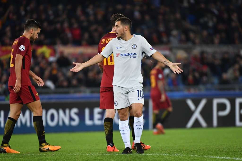 Chelsea's Belgian midfielder Eden Hazard reacts during the UEFA Champions League football match AS Roma vs Chelsea on October 31, 2017 at the Olympic Stadium in Rome. Rome won 3-0. / AFP PHOTO / Alberto PIZZOLI (Photo credit should read ALBERTO PIZZOLI/AFP/Getty Images)