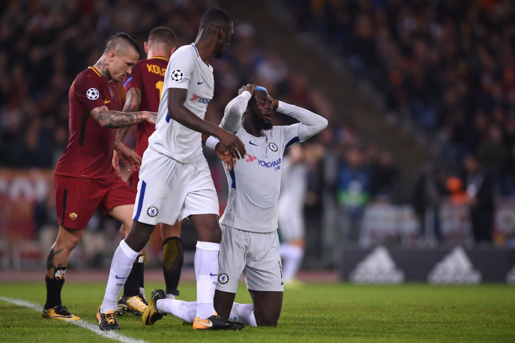 Chelsea's French midfielder Tiemoue Bakayoko (R) reacts during the UEFA Champions League football match AS Roma vs Chelsea on October 31, 2017 at the Olympic Stadium in Rome. / AFP PHOTO / Filippo MONTEFORTE (Photo credit should read FILIPPO MONTEFORTE/AFP/Getty Images)