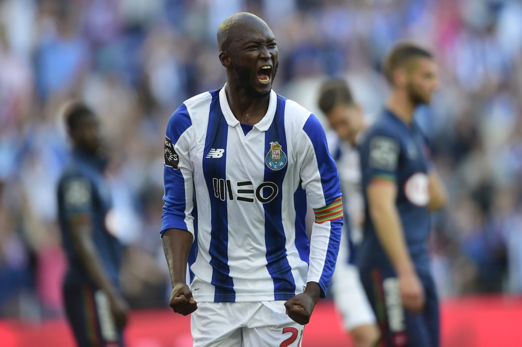 Porto's midfielder Danilo Pereira celebrates a goal during the Portuguese league football match FC Porto vs Belenenses at the Dragao stadium in Porto on April 8, 2017. / AFP PHOTO / MIGUEL RIOPA (Photo credit should read MIGUEL RIOPA/AFP/Getty Images)