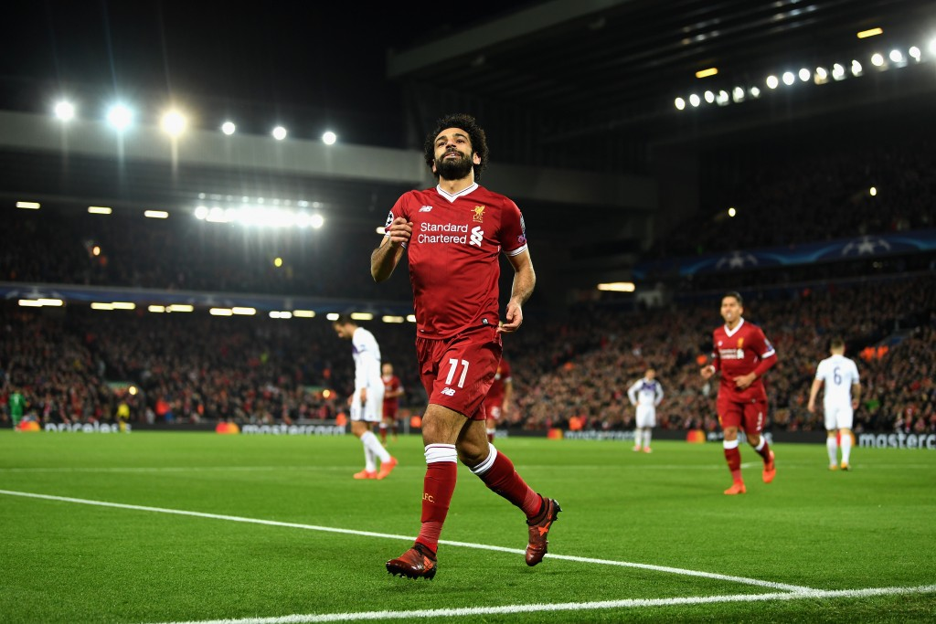 LIVERPOOL, ENGLAND - NOVEMBER 01: Mohamed Salah of Liverpool celebrates scoring his sides first goal during the UEFA Champions League group E match between Liverpool FC and NK Maribor at Anfield on November 1, 2017 in Liverpool, United Kingdom. (Photo by Michael Regan/Getty Images)