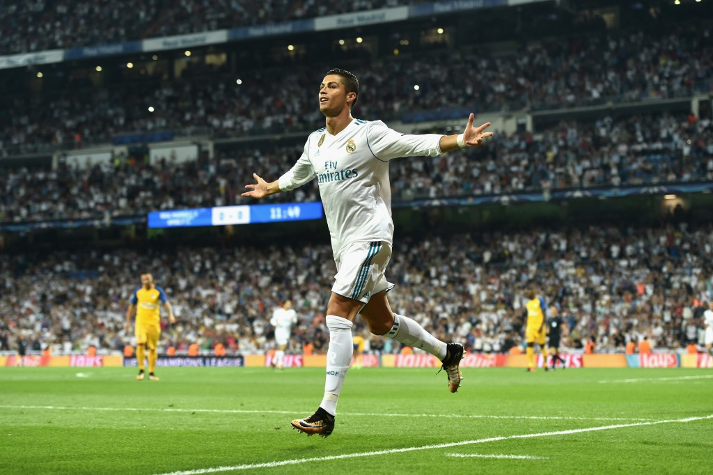 MADRID, SPAIN - SEPTEMBER 13: Cristiano Ronaldo of Real Madrid celebrates scoring his sides first goal during the UEFA Champions League group H match between Real Madrid and APOEL Nikosia at Estadio Santiago Bernabeu on September 13, 2017 in Madrid, Spain. (Photo by Denis Doyle/Getty Images)