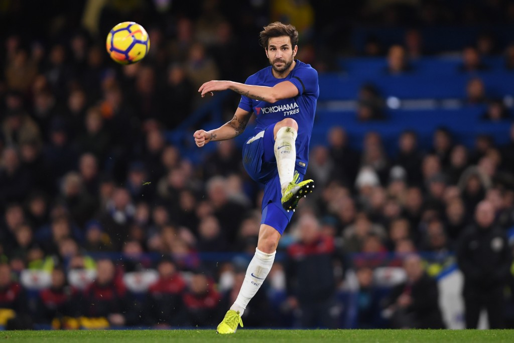 LONDON, ENGLAND - NOVEMBER 29: Cesc Fabregas of Chelsea in action during the Premier League match between Chelsea and Swansea City at Stamford Bridge on November 29, 2017 in London, England. (Photo by Mike Hewitt/Getty Images)