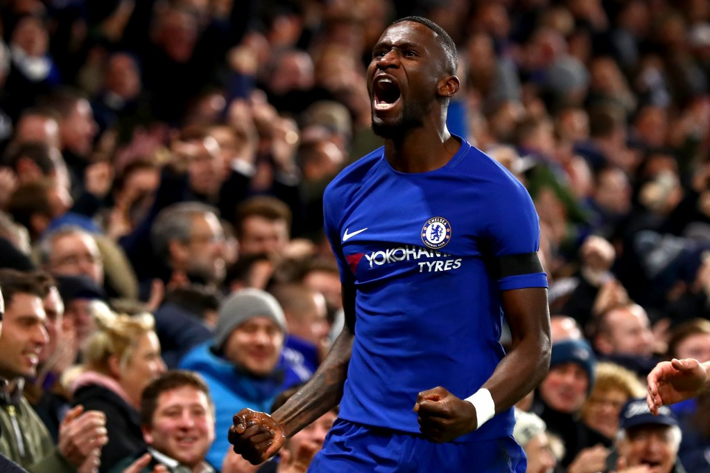 LONDON, ENGLAND - NOVEMBER 29: Antonio Rudiger of Chelsea celebrates after scoring his sides second goal during the Premier League match between Chelsea and Swansea City at Stamford Bridge on November 29, 2017 in London, England (Photo by Clive Rose/Getty Images)